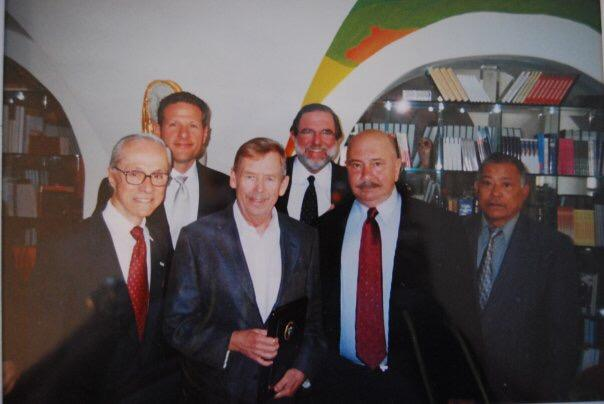 Àngel Cuadra, first from left, visiting Vaclav Havel as president of Cuban Writers in Exile PEN with other members of the centre.