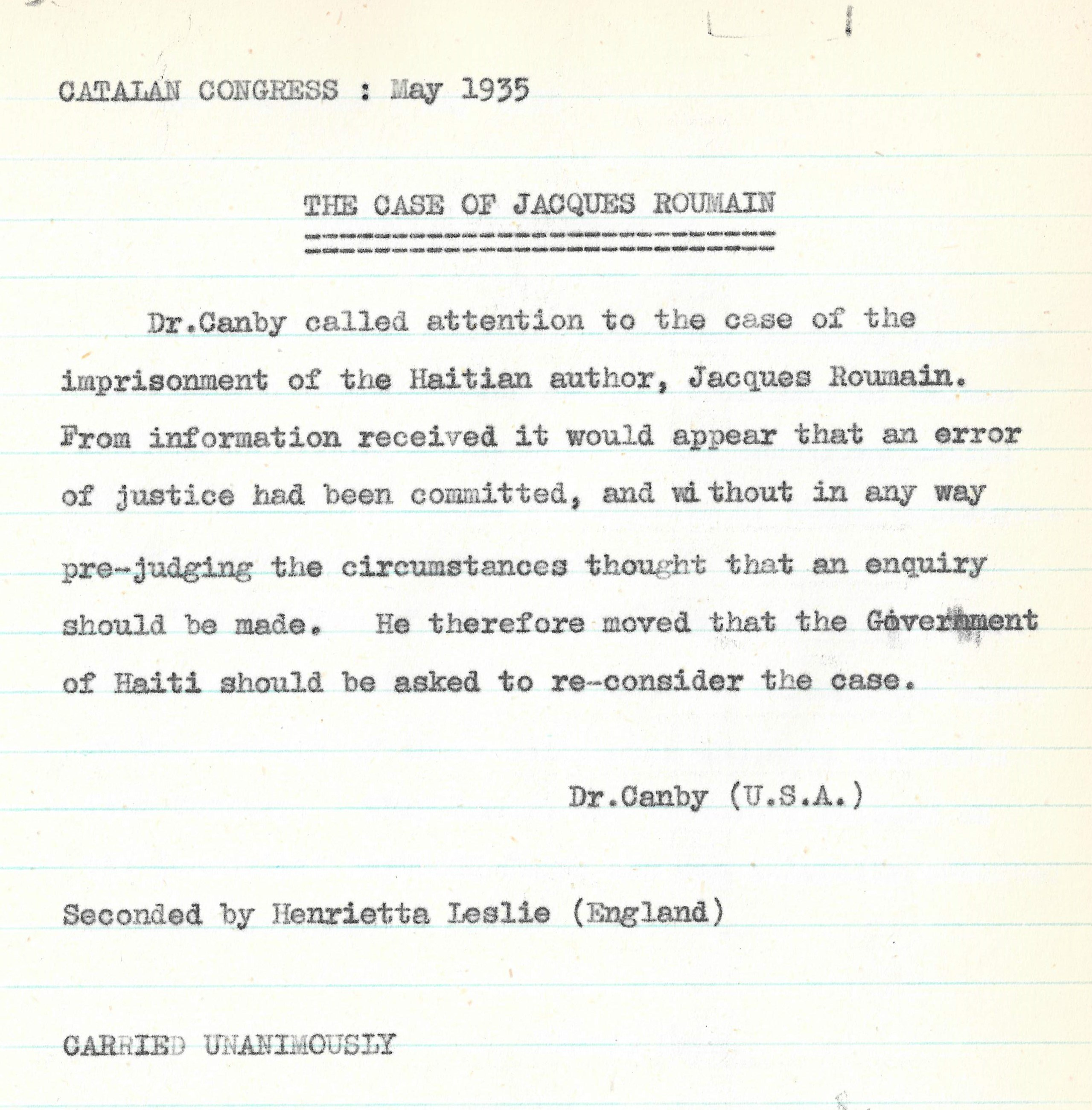 Resolution in defense of Jacques Roumain approved at the Barcelona 13th PEN International Congress in 1935.