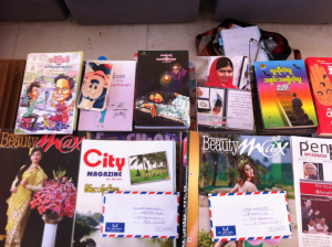 Books donated to the monastery and the Dala township library by PEN Mynanmar